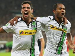 Zwei Tore und ein Assist: Lars Stindl, links neben Raffael, war Gladbachs Matchwinner auf St. Pauli.
