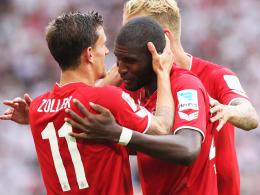 Neue Offensivpower: Die Kölner Neuzugänge Anthony Modeste (re.) und Simon Zoller schlugen beide zu.