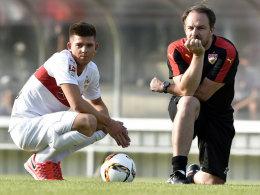 Stuttgarts Youngster Marvin Wanitzek und VfB-Trainer Alexander Zorniger.