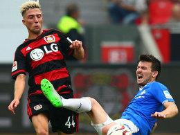 Ein Tick Aggressivität: Leverkusens Kevin Kampl, hier gegen den Darmstädter Jerome Gondorf.