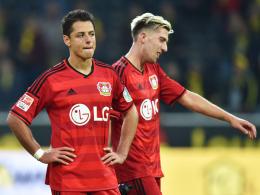 Ratlosigkeit, Verärgerung: Leverkusen, hier mit Kevin Kampl (re.) und Chicharito, enttäuschte in Dortmund.