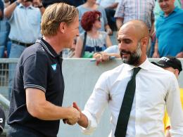 Der Dank ging an Hoffenheim: TSG-Coach Markus Gisdol (li.) hat mit Bayern-Trainer Pep Guardiola telefoniert.