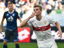 Timo Werner bejubelt sein Tor zum 2:2 in Hoffenheim