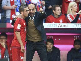 Pep Guardiola mit Philipp Lahm
