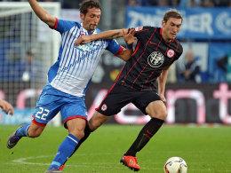 Aufwärtstrend: Frankfurts Stefan Reinartz, hier gegen Hoffenheims Kuranyi.