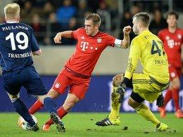 Spielfreude in Regensburg: FCB-Kapitän Philipp Lahm.