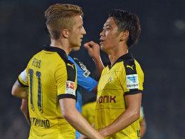 Gemeinsam wieder auf Torejagd: Die Dortmunder Marco Reus und Shinji Kagawa.
