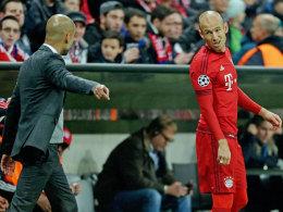 Pep Guardiola mit Arjen Robben