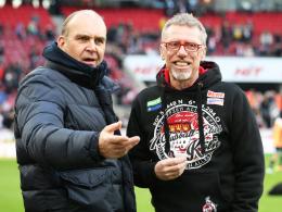 Kölns Manager Jörg Schmadtke (li.) und Trainer Peter Stöger.