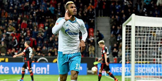 Schalkes Choupo-Moting jubelt, aber sein Tor reichte nicht zum Sieg in Leverkusen.