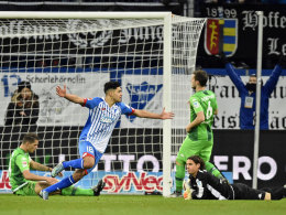 Jubelpose: Nadiem Amiri (#18) hat gegen Gladbach zum zwischenzeitlichen 3:1 getroffen.
