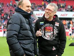 Hält Neuverpflichtungen im Winter für unnötig: FC-Geschäftsführer Jörg Schmadtke (li., mit Trainer Peter Stöger).
