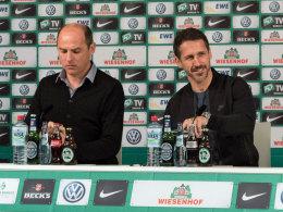 Viktor Skripnik und Thomas Eichin (r.) am Donnerstag auf der Bremer Pressekonferenz