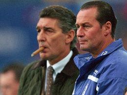 Schalkes Jahrhundert-Trainer Huub Stevens und der ehemalige Manager Rudi Assauer.