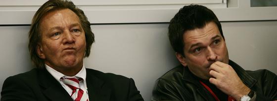 Mainz-Manager Christian Heidel (re.) mit Präsident Harald Strutz im Jahr 2005.
