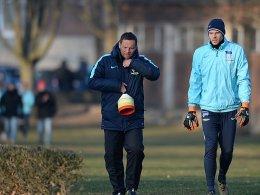 Auf dem Weg in die Rückrunde: Hertha-Coach Pal Dardai und Keeper Rune Jarstein (re.).