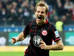 """""""Das Tor war erlösend"""": Frankfurts Stefan Aigner nach seinem Treffer gegen Bremen."""
