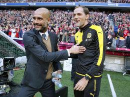 Ein Idol für einen der steilen Aufsteiger der Zunft: Pep Guardiola (l.) und BVB-Coach Thomas Tuchel.