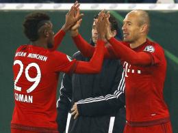 Wer darf bei den Bayern rechts offensiv ran? Arjen Robben (re.) oder Kingsley Coman?