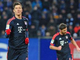 Matchwinner für die Bayern: Torjäger Lewandowski schnürte beim HSV einen Doppelpack.