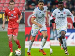 Erhielten von Trainer Martin Schmidt das Vertrauen gegen den FCI: Gaetan Bussmann, Leon Balogun und Jhon Cordoba.