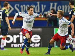 Hammer mit links: Müller traf zum 1:1 für den HSV.