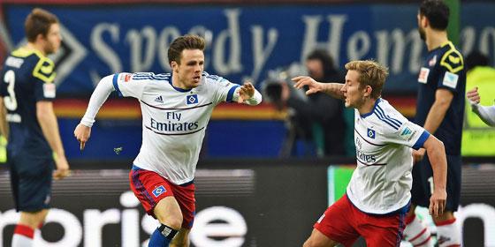 Hammer mit links: M�ller traf zum 1:1 f�r den HSV.