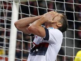 Glücklos auch in der letzten Minute: Bayern-Stürmer Robert Lewandowski.