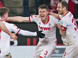Bisher die Krönung seines Schaffens beim FC: Dominique Heintz jubelt über sein 2:1 gegen Frankfurt.