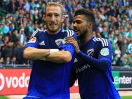 Premierentreffer: Im Hinspiel gegen Werder erzielte Ingolstadts Moritz Hartmann (li.) in Bremen sein erstes Bundesligator.
