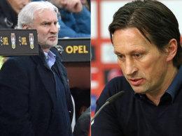 Die Leverkusener Verantwortlichen: Rudi Völler und Roger Schmidt