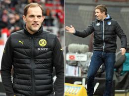 BVB-Coach Thomas Tuchel (li.) und Hoffenheims Trainer Julian Nagelsmann
