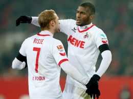Kölns Anthony Modeste (re.) und Marcel Risse