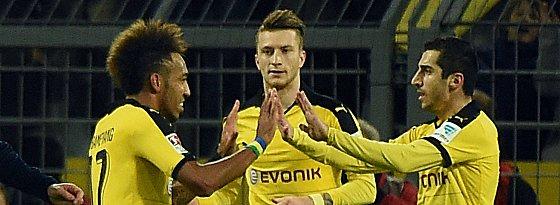 Geballte Offensivpower: Pierre-Emerick Aubameyang, Marco Reus und Henrikh Mkhitaryan.