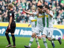 Freudenlauf: Die Gladbacher Stindl und Nordtveit (re.) nach dem 1:0.