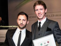 Die Jahrgangsbesten: Hoffenheims Cheftrainer Julian Nagelsmann (re.) und Domenico Tedesco, der die U 19 der TSG übernimmt.