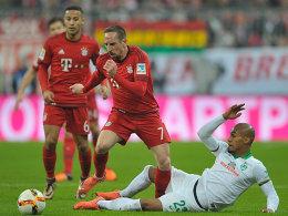 Thiago und Franck Ribery (hier gegen Theodor Gebre Selassie)