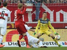Frühe Führung in Stuttgart: Bayers Julian Brandt trifft.
