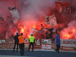 Pyrotechnik im Bayern-Block
