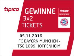 3x2 Tickets für Bayern gegen Hoffenheim zu gewinnen