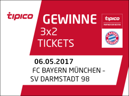 Gewinnspiel: 3x2 Tickets für FC Bayern gegen Darmstadt 98