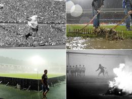 Spielabbrüche: Brennendes Stroh und Regenfälle