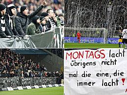 Plakate, Trillerpfeifen, Tennisbälle: Fan-Proteste in Frankfurt