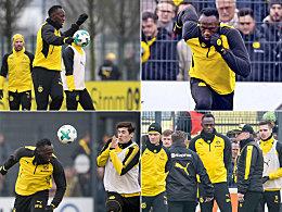 Einen gleich getunnelt: Bolts Training beim BVB