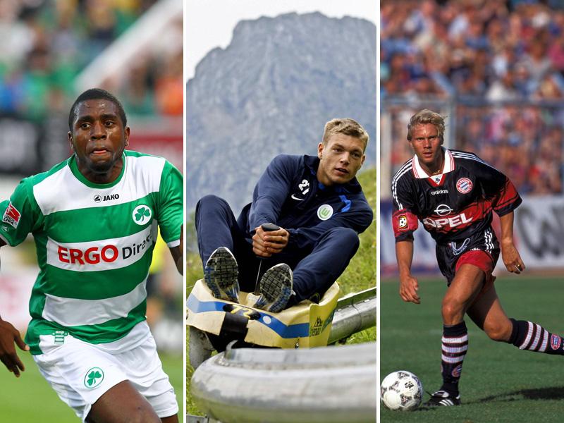 Olivier Occean (ehemals SpVgg Greuther Fürth), Alexander Esswein (ehemals VfL Wolfsburg) und Thorsten Fink (ehemals FC Bayern München, v.l.)