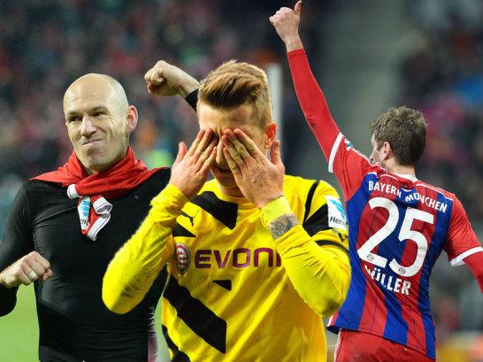 Arjen Robben, Marco Reus und Thomas Müller (v.li.)