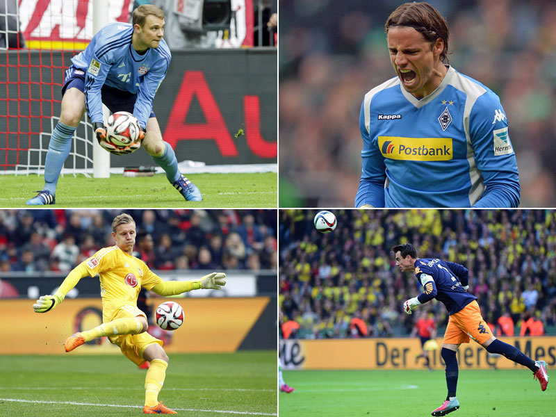 Manuel Neuer (oben links), Yann Sommer (oben rechts), Bernd Leno (unten links) und Diego Benaglio