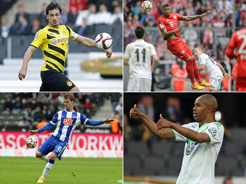Mats Hummels (oben links), Jerome Boateng (oben rechts), Sebastian Langkamp (unten links) und Naldo