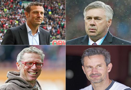 Markus Weinzierl, Carlo Ancelotti, Peter Stöger und Dirk Schuster.