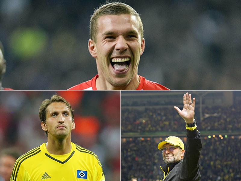 Lukas Podolski (o.), Rene Adler (u.l.), Jürgen Klopp (u.r.)